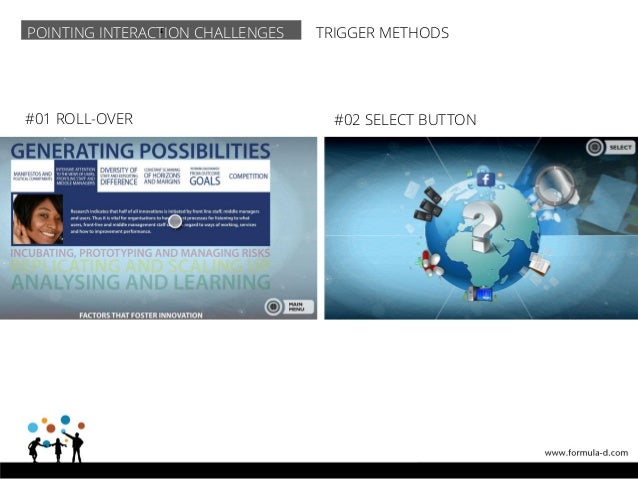 'POINTING INTERACTION CHALLENGES TRIGGER METHODS #01 ROLL-OVER #02 SELECT BUTTON