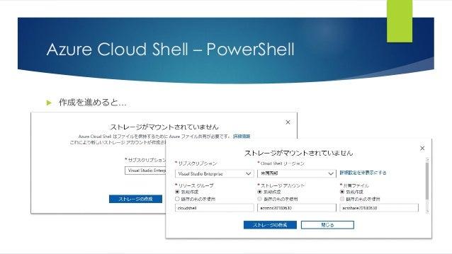 Azure Cloud Shell – PowerShell  作成を進めると…