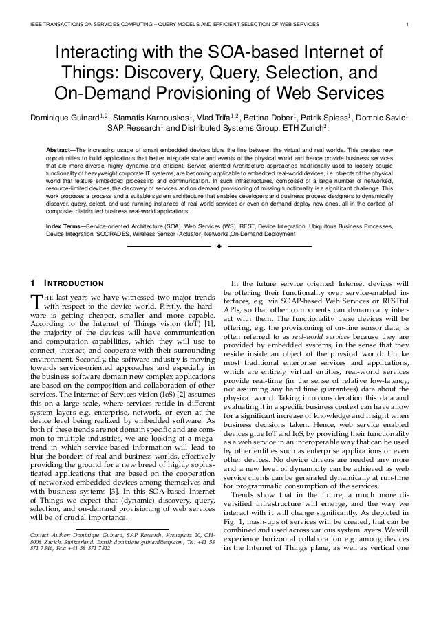 IEEE TRANSACTIONS ON SERVICES COMPUTING – QUERY MODELS AND EFFICIENT SELECTION OF WEB SERVICES 1 Interacting with the SOA-...