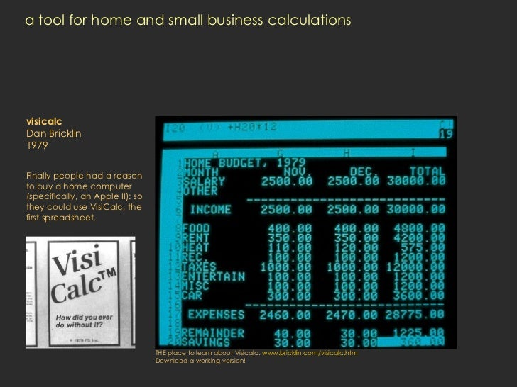 a tool for home and small business calculations visicalc Dan Bricklin 1979 Finally people had a reason to buy a home compu...