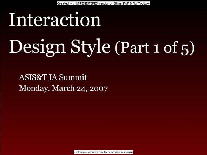 Interaction Design & Style Part-1