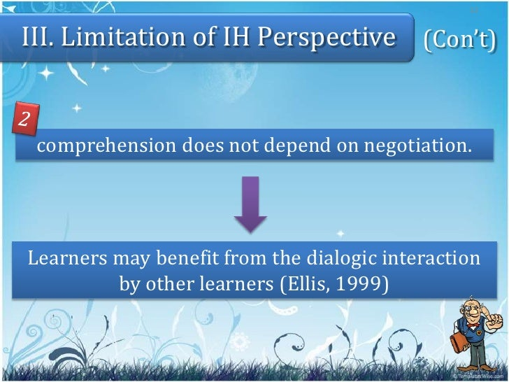 the interaction hypothesis ih Research on interaction in language classrooms has made great strides (see, for   psychologists supporting the cognitive theory tend to view second language.