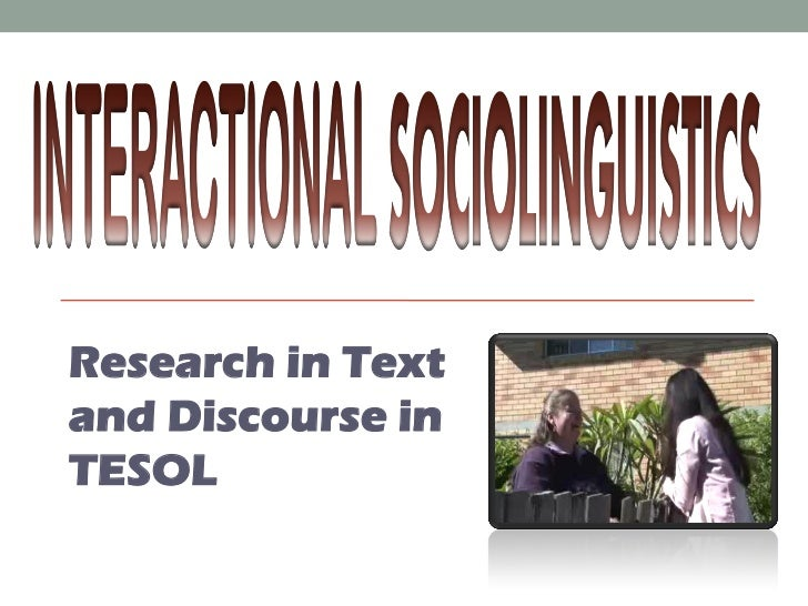 Research in Textand Discourse inTESOL