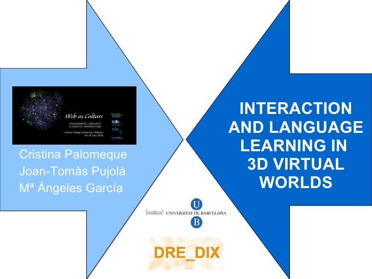 INTERACTION AND LANGUAGE LEARNING IN  3D VIRTUAL WORLDS Cristina Palomeque Joan-Tom às Pujolà Mª Ángeles García