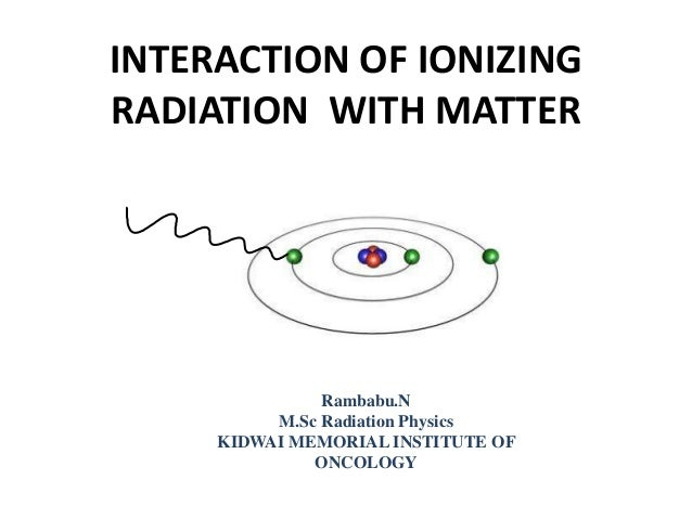INTERACTION OF IONIZING RADIATION WITH MATTER Rambabu.N M.Sc Radiation Physics KIDWAI MEMORIAL INSTITUTE OF ONCOLOGY