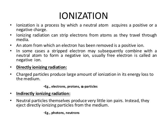 INTERACTION OF IONIZING RADIATION WITH MATTER Slide 3