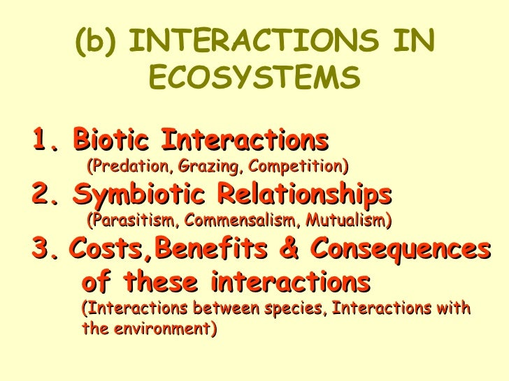 (b) INTERACTIONS IN ECOSYSTEMS 1. Biotic Interactions   (Predation, Grazing, Competition) 2. Symbiotic Relationships  (Par...