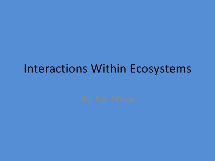 Interactions Within Ecosystems By: Ms. Moya