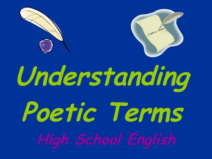 Understanding Poetic Terms High School English