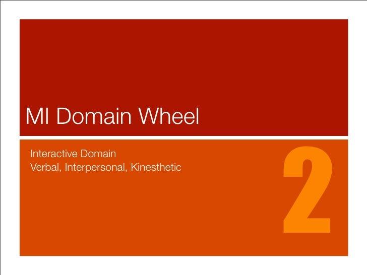 MI Domain Wheel                                         2 Interactive Domain Verbal, Interpersonal, Kinesthetic