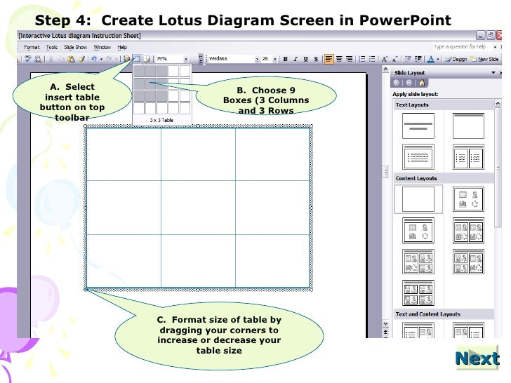 Interactive Lotus Diagram Powerpoint Instructions2
