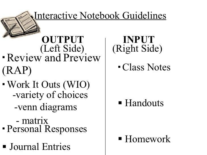 Interactive Notebook Guidelines OUTPUT INPUT <ul><li>Class Notes </li></ul><ul><li>Handouts </li></ul><ul><li>Homework </l...