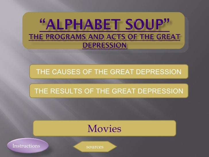 Instructions Movies sources THE CAUSES OF THE GREAT DEPRESSION THE RESULTS OF THE GREAT DEPRESSION