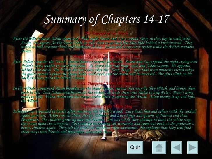 chapter summary of the lion the witch and the wardrobe Free summary and analysis of chapter 1 in cs lewis's the lion, the witch, and the wardrobe that won't make you snore we promise.