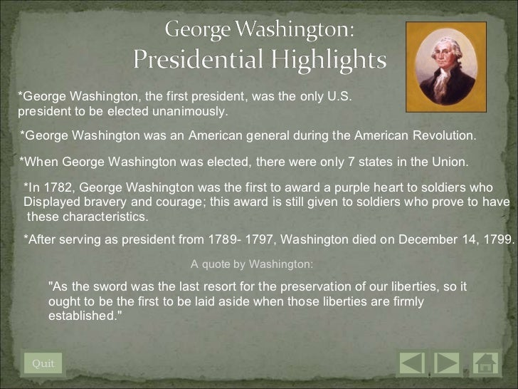 Who were the first five Presidents of the United States?