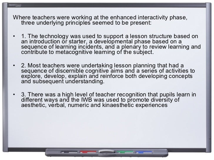 <ul><li>Where teachers were working at the enhanced interactivity phase, three underlying principles seemed to be present:...