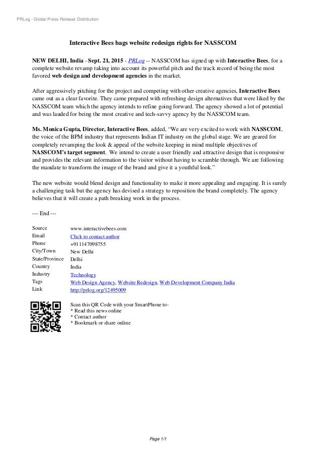 PRLog - Global Press Release Distribution Interactive Bees bags website redesign rights for NASSCOM NEW DELHI, India - Sep...