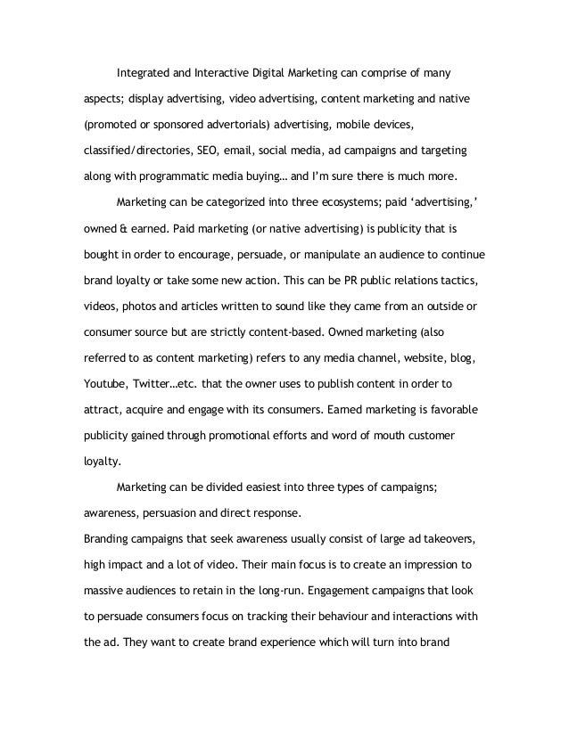 Essay on marketing and advertising