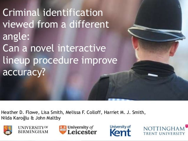 Criminal identification viewed from a different angle: Can a novel interactive lineup procedure improve accuracy? Heather ...
