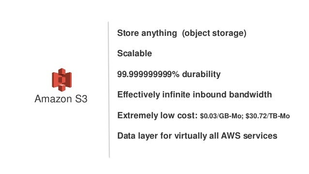 Store anything (object storage) Scalable 99.999999999% durability Effectively infinite inbound bandwidth Extremely low cos...