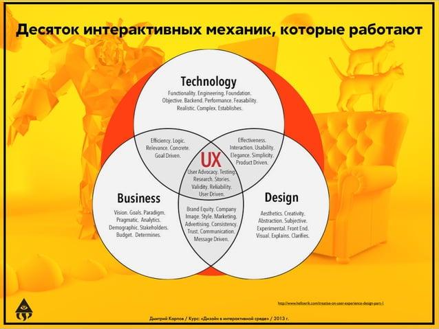 Десяток интерактивных механик, которые работают  http://www.helloerik.com/treatise-on-user-experience-design-part-1  Дмитр...
