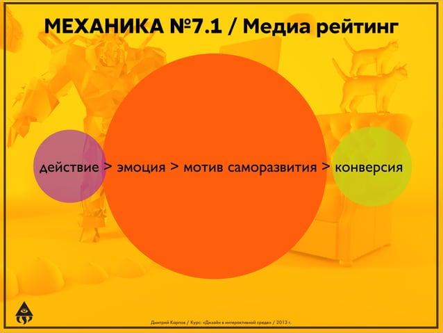 МЕХАНИКА №7.1 / Медиа рейтинг  действие > эмоция > мотив саморазвития > конверсия  Дмитрий Карпов / Курс: «Дизайн в интера...