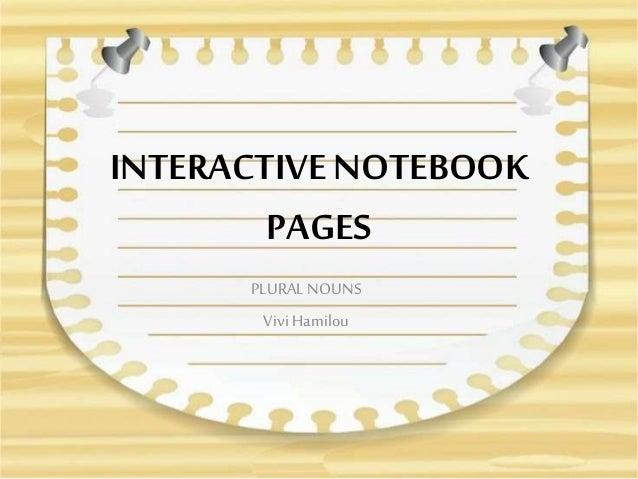 INTERACTIVE NOTEBOOK PAGES PLURAL NOUNS Vivi Hamilou