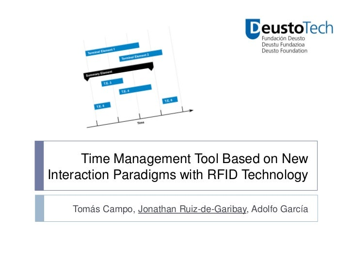 Time Management Tool Based on NewInteraction Paradigms with RFID Technology    Tomás Campo, Jonathan Ruiz-de-Garibay, Adol...
