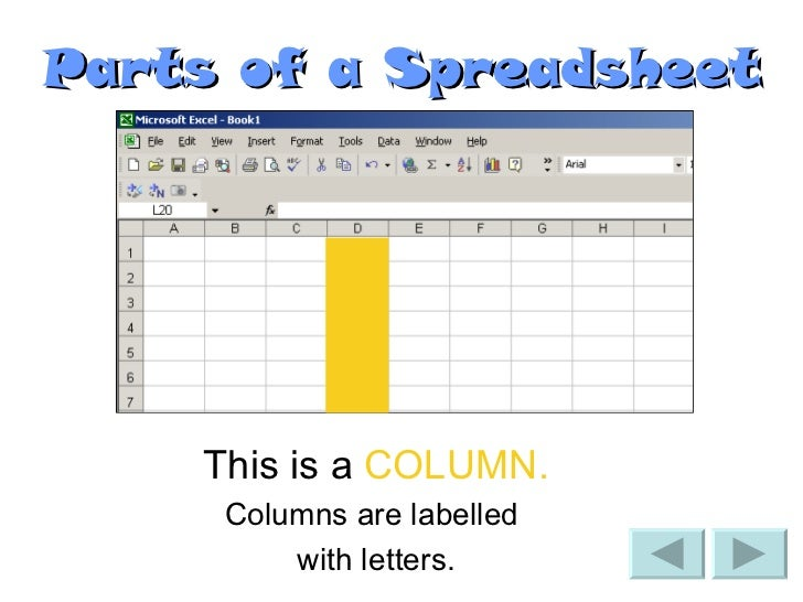 3 parts of a spreadsheet