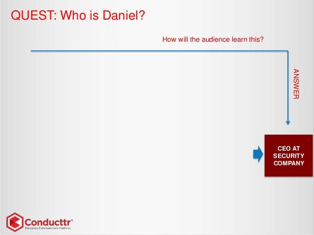 QUEST: Who is Daniel? CEO AT SECURITY COMPANY How will the audience learn this? ANSWER