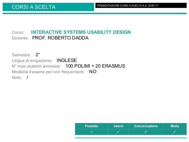 Corso: INTERACTIVE SYSTEMS USABILITY DESIGN Docente: PROF. ROBERTO DADDA Semestre: 2° Lingua di erogazione: INGLESE N° max...
