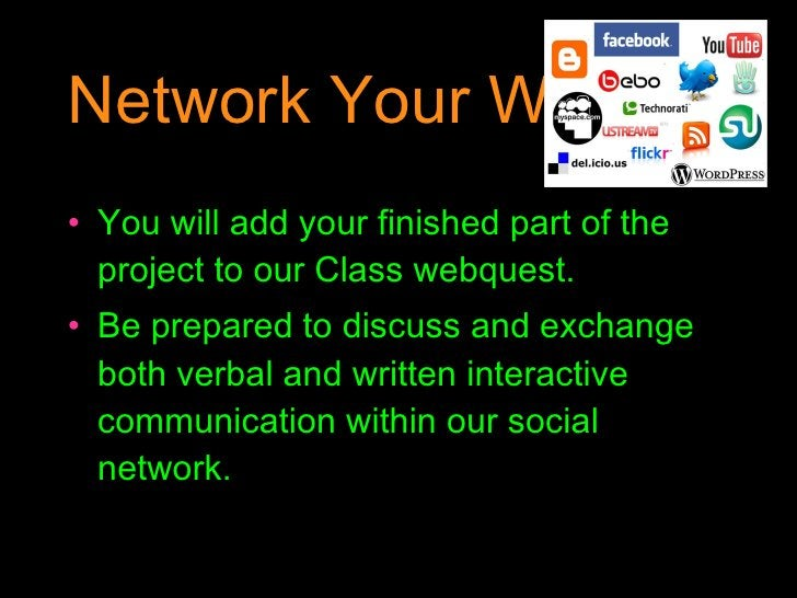 Network Your Work <ul><li>You will add your finished part of the project to our Class webquest. </li></ul><ul><li>Be prepa...