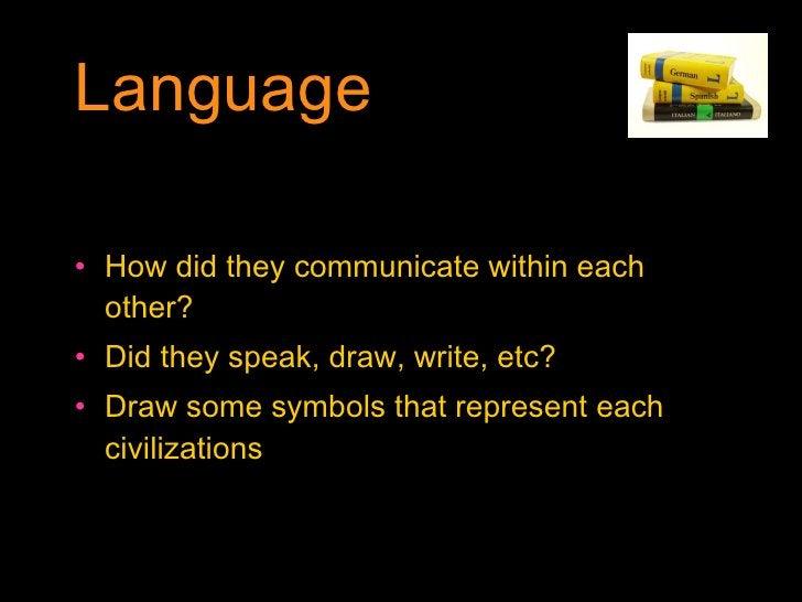 Language <ul><li>How did they communicate within each other? </li></ul><ul><li>Did they speak, draw, write, etc? </li></ul...