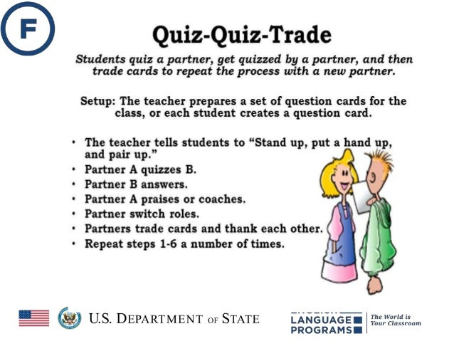 Quiz-Quiz Trade • Remember each student needs a card with a word and the answer on the back. • Each person quizzes partner...