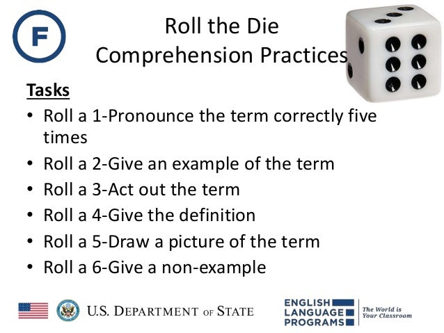 Roll the Die Comprehension Practices Tasks • Roll a 1-Pronounce the term correctly five times • Roll a 2-Give an example o...
