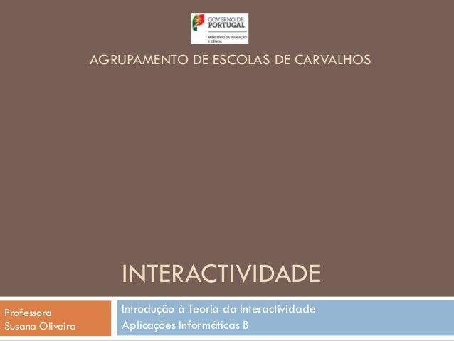 AGRUPAMENTO DE ESCOLAS DE CARVALHOS                     INTERACTIVIDADEProfessora           Introdução à Teoria da Interac...