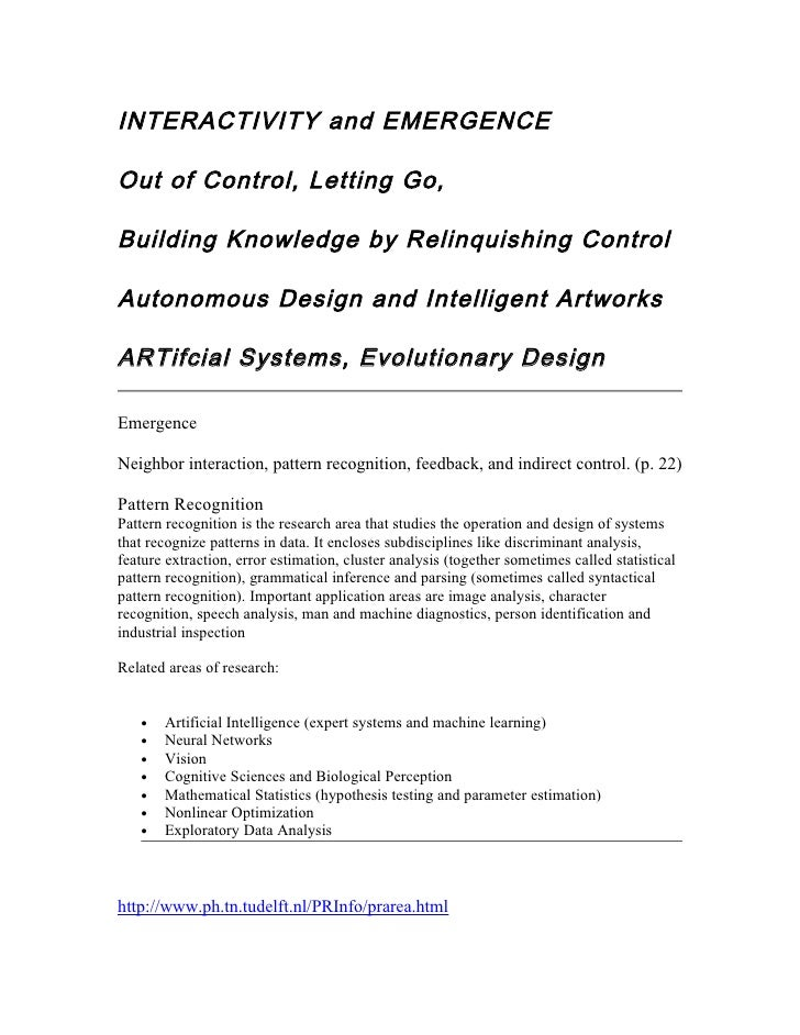 INTERACTIVITY and EMERGENCE  Out of Control, Letting Go,  Building Knowledge by Relinquishing Control  Autonomous Design a...