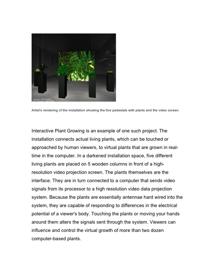 Artist's rendering of the installation showing the five pedestals with plants and the video screen.     Interactive Plant ...