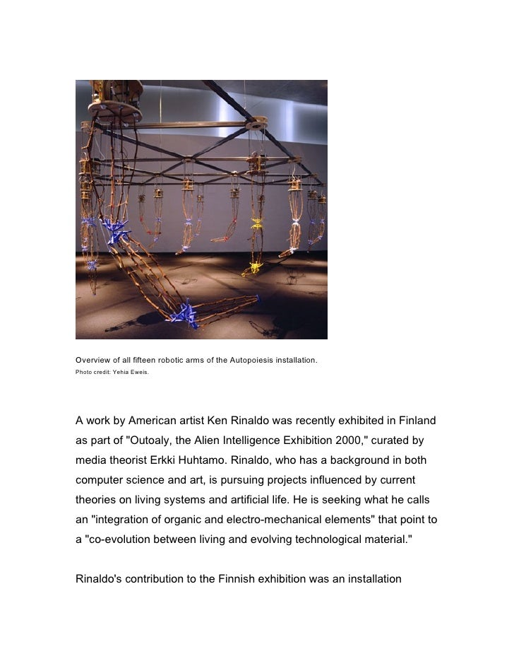 Overview of all fifteen robotic arms of the Autopoiesis installation. Photo credit: Yehia Eweis.     A work by American ar...