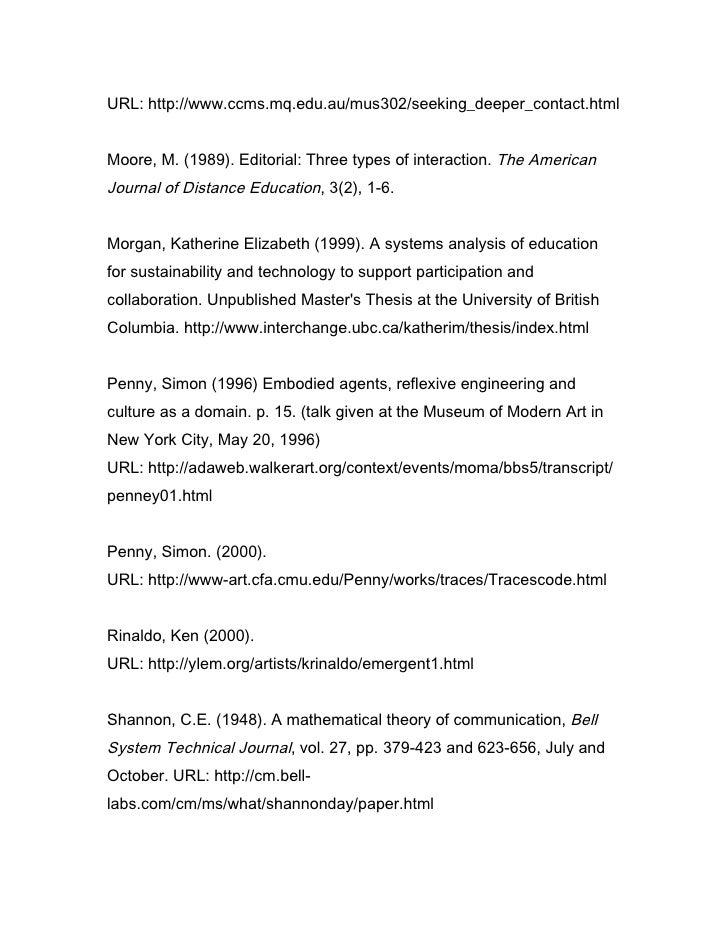 URL: http://www.ccms.mq.edu.au/mus302/seeking_deeper_contact.html   Moore, M. (1989). Editorial: Three types of interactio...