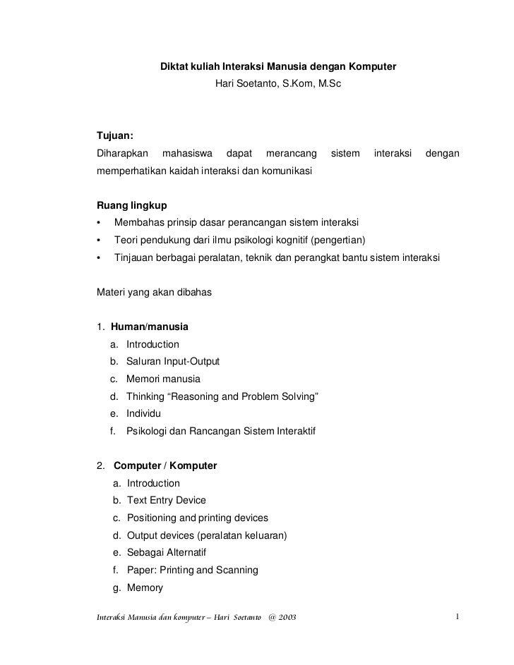 Diktat kuliah Interaksi Manusia dengan Komputer                              Hari Soetanto, S.Kom, M.ScTujuan:Diharapkan  ...
