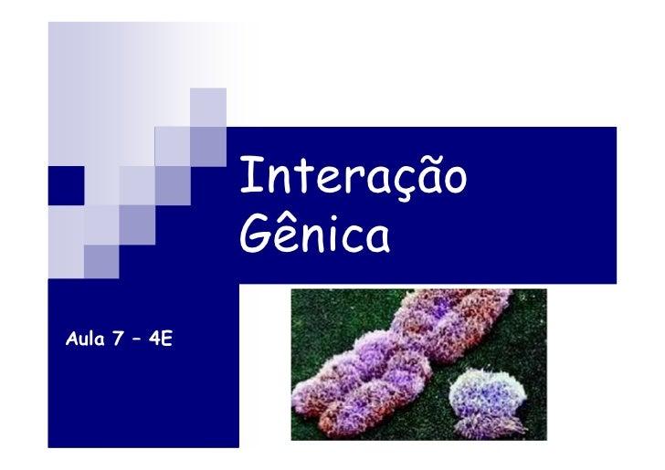 Interação              GênicaAula 7 – 4E