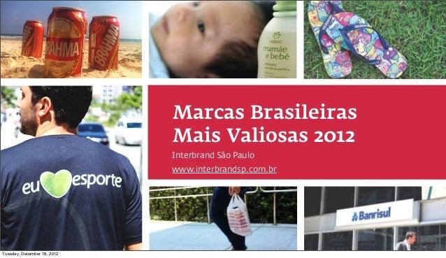 Marcas Brasileiras                                                             Mais Valiosas 2012                         ...