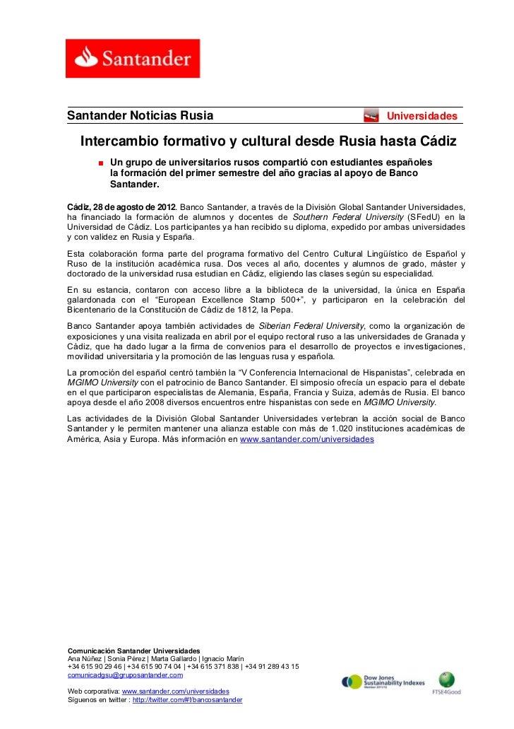 Santander Noticias Rusia                                                            Universidades    Intercambio formativo...