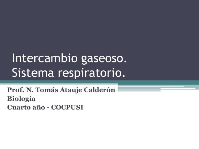 Intercambio gaseoso. Sistema respiratorio. Prof. N. Tomás Atauje Calderón Biología Cuarto año - COCPUSI