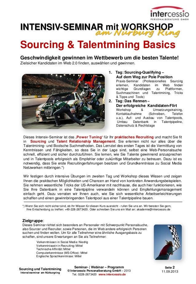 Seminar- | Webinar – Programm © Intercessio Personalberatung GmbH – 2013 Tel. 0228-2673420 www.intercessio.de Seite 2 11.0...
