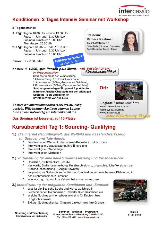 Seminar- | Webinar – Programm © Intercessio Personalberatung GmbH – 2013 Tel. 0228-2673420 www.intercessio.de Seite 3 11.0...