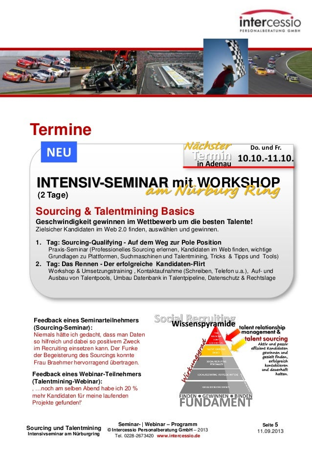 Seminar- | Webinar – Programm © Intercessio Personalberatung GmbH – 2013 Tel. 0228-2673420 www.intercessio.de Seite 5 11.0...