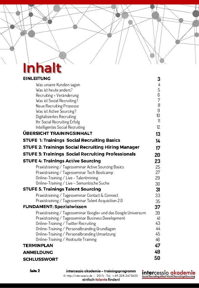 Intercessio Trainingsprogramm 2015 - Social Recruiting und Sourcing Slide 2