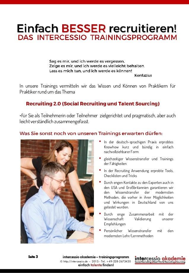 Intercessio Trainingsprogramm 2015 - Social Recruiting und Sourcing Slide 3